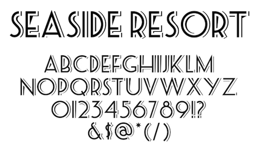 seaside font for packaging