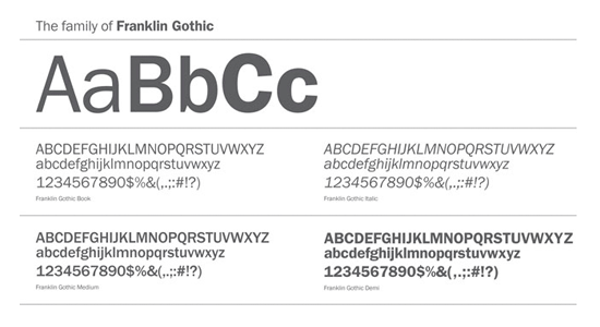 franklin gothic font for packaging